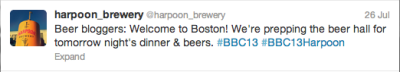 Harpoon Brewery gives a shout out to the Beer Blogging Crew in town for the Beer Bloggers Converence