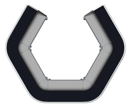Modular bar hex-shape top view